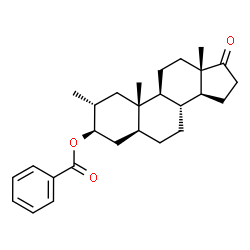 ChemSpider 2D Image | (2alpha,3beta,5alpha)-2-Methyl-17-oxoandrostan-3-yl benzoate | C27H36O3