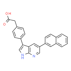 ChemSpider 2D Image | {4-[5-(2-Naphthyl)-1H-pyrrolo[2,3-b]pyridin-3-yl]phenyl}acetic acid | C25H18N2O2