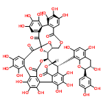 ChemSpider 2D Image | (1R,2R,20R,42S,46S)-46-[(2R,3S)-2-(3,4-Dihydroxyphenyl)-3,5,7-trihydroxy-3,4-dihydro-2H-chromen-8-yl]-7,8,9,12,13,14,25,26,27,30,31,32,35,36,37-pentadecahydroxy-3,18,21,41,43-pentaoxanonacyclo[27.13.3