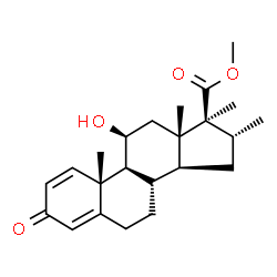 ChemSpider 2D Image | Methyl (11beta,16alpha,17beta)-11-hydroxy-16,17-dimethyl-3-oxoandrosta-1,4-diene-17-carboxylate | C23H32O4