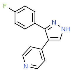 ChemSpider 2D Image | 4-[3-(4-Fluorophenyl)-1H-pyrazol-4-yl]pyridine | C14H10FN3