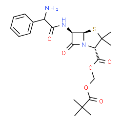 ChemSpider 2D Image | [(2,2-Dimethylpropanoyl)oxy]methyl (2S,5R,6R)-6-{[amino(phenyl)acetyl]amino}-3,3-dimethyl-7-oxo-4-thia-1-azabicyclo[3.2.0]heptane-2-carboxylate | C22H29N3O6S
