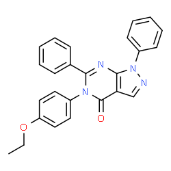 ChemSpider 2D Image | 5-(4-Ethoxyphenyl)-1,6-diphenyl-1,5-dihydro-4H-pyrazolo[3,4-d]pyrimidin-4-one | C25H20N4O2