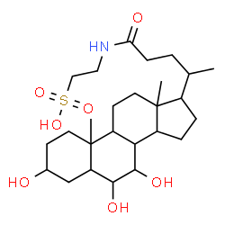 ChemSpider 2D Image | 2-[(3,6,7-Trihydroxy-24-oxocholan-24-yl)amino]ethanesulfonic acid | C26H45NO7S