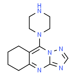 ChemSpider 2D Image | 9-(1-Piperazinyl)-5,6,7,8-tetrahydro[1,2,4]triazolo[5,1-b]quinazoline | C13H18N6