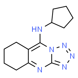 ChemSpider 2D Image | N-Cyclopentyl-5,6,7,8-tetrahydrotetrazolo[5,1-b]quinazolin-9-amine | C13H18N6