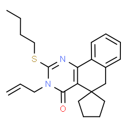 ChemSpider 2D Image | 3-Allyl-2-(butylsulfanyl)-3H-spiro[benzo[h]quinazoline-5,1'-cyclopentan]-4(6H)-one | C23H28N2OS