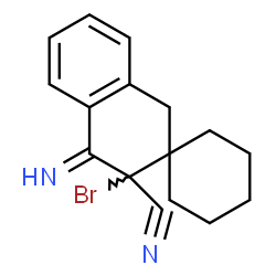ChemSpider 2D Image | 3'-Bromo-4'-imino-3',4'-dihydro-1'H-spiro[cyclohexane-1,2'-naphthalene]-3'-carbonitrile | C16H17BrN2