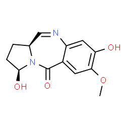 ChemSpider 2D Image | (3S,11aS)-3,8-Dihydroxy-7-methoxy-1,2,3,11a-tetrahydro-5H-pyrrolo[2,1-c][1,4]benzodiazepin-5-one | C13H14N2O4
