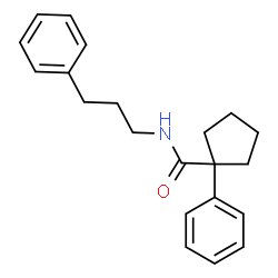 ChemSpider 2D Image | 1-Phenyl-N-(3-phenylpropyl)cyclopentanecarboxamide | C21H25NO