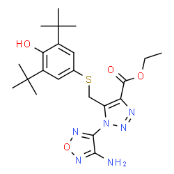 ChemSpider 2D Image | Ethyl 1-(4-amino-1,2,5-oxadiazol-3-yl)-5-({[4-hydroxy-3,5-bis(2-methyl-2-propanyl)phenyl]sulfanyl}methyl)-1H-1,2,3-triazole-4-carboxylate | C22H30N6O4S