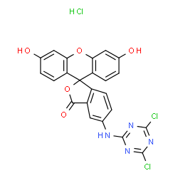 ChemSpider 2D Image | 5-[(4,6-Dichloro-1,3,5-triazin-2-yl)amino]-3',6'-dihydroxy-3H-spiro[2-benzofuran-1,9'-xanthen]-3-one hydrochloride (1:1) | C23H13Cl3N4O5