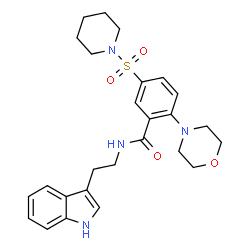 ChemSpider 2D Image | N-[2-(1H-Indol-3-yl)ethyl]-2-(4-morpholinyl)-5-(1-piperidinylsulfonyl)benzamide | C26H32N4O4S