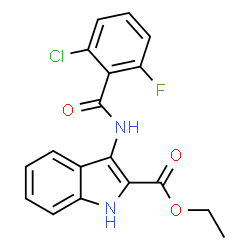 ChemSpider 2D Image | Ethyl 3-[(2-chloro-6-fluorobenzoyl)amino]-1H-indole-2-carboxylate | C18H14ClFN2O3