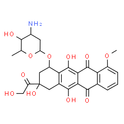 ChemSpider 2D Image   3-Glycoloyl-3,5,12-trihydroxy-10-methoxy-6,11-dioxo-1,2,3,4,6,11-hexahydro-1-tetracenyl 3-amino-2,3,6-trideoxyhexopyranoside   C27H29NO11