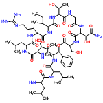 ChemSpider 2D Image | Leucyl-N-[6-(2-amino-1-hydroxy-2-oxoethyl)-15-sec-butyl-18-{3-[(diaminomethylene)amino]propyl}-12-(1-hydroxyethyl)-3-(hydroxymethyl)-24-(1-hydroxy-2-methylpropyl)-21-isobutyl-2,5,8,11,14,17,20,23,26-n