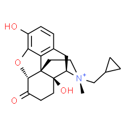 ChemSpider 2D Image | (5alpha,17R)-17-(Cyclopropylmethyl)-3,14-dihydroxy-17-methyl-6-oxo-4,5-epoxymorphinan-17-ium | C21H26NO4
