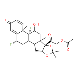 ChemSpider 2D Image | 2-[(4bR,6bS,9aR,12S)-4b,12-Difluoro-5-hydroxy-4a,6a,8,8-tetramethyl-2-oxo-2,4a,4b,5,6,6a,9a,10,10a,10b,11,12-dodecahydro-6bH-naphtho[2',1':4,5]indeno[1,2-d][1,3]dioxol-6b-yl]-2-oxoethyl acetate | C26H32F2O7