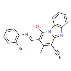 ChemSpider 2D Image | 2-{(E)-[(2-Bromophenyl)imino]methyl}-1-hydroxy-3-methylpyrido[1,2-a]benzimidazole-4-carbonitrile | C20H13BrN4O
