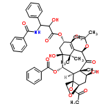 ChemSpider 2D Image | 4alpha,10beta-bis(acetyloxy)-13alpha-[(2S,3S)-3-(benzoylamino)-2-hydroxy-3-phenylpropanoyloxy]-1,7beta-dihydroxy-9-oxo-5beta,20-epoxytax-11-en-2alpha-yl benzoate | C47H51NO14