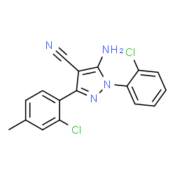 ChemSpider 2D Image | 5-Amino-3-(2-chloro-4-methylphenyl)-1-(2-chlorophenyl)-1H-pyrazole-4-carbonitrile | C17H12Cl2N4