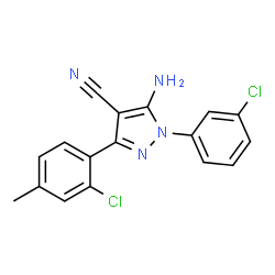 ChemSpider 2D Image | 5-Amino-3-(2-chloro-4-methylphenyl)-1-(3-chlorophenyl)-1H-pyrazole-4-carbonitrile | C17H12Cl2N4