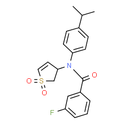 ChemSpider 2D Image | N-(1,1-Dioxido-2,3-dihydro-3-thiophenyl)-3-fluoro-N-(4-isopropylphenyl)benzamide | C20H20FNO3S