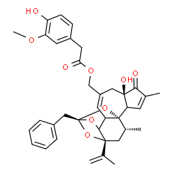 ChemSpider 2D Image | [(1R,6R,13R,15R,17R)-13-Benzyl-6-hydroxy-15-isopropenyl-4,17-dimethyl-5-oxo-12,14,18-trioxapentacyclo[11.4.1.0~1,10~.0~2,6~.0~11,15~]octadeca-3,8-dien-8-yl]methyl (4-hydroxy-3-methoxyphenyl)acetate | C37H40O9