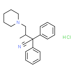 ChemSpider 2D Image | 3-Methyl-2,2-diphenyl-4-(1-piperidinyl)butanenitrile hydrochloride (1:1) | C22H27ClN2