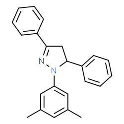 ChemSpider 2D Image | 1-(3,5-Dimethylphenyl)-3,5-diphenyl-4,5-dihydro-1H-pyrazole | C23H22N2