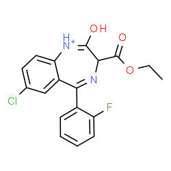 ChemSpider 2D Image | 7-Chloro-3-(ethoxycarbonyl)-5-(2-fluorophenyl)-2-oxo-2,3-dihydro-1H-1,4-benzodiazepin-1-ium | C18H15ClFN2O3