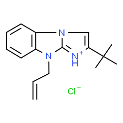 ChemSpider 2D Image | 9-Allyl-2-(2-methyl-2-propanyl)-9H-imidazo[1,2-a]benzimidazol-1-ium chloride | C16H20ClN3