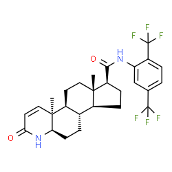 ChemSpider 2D Image | (4aS,4bS,6aS,7S,9aS,9bS,11aR)-N-[2,5-Bis(trifluoromethyl)phenyl]-4a,6a-dimethyl-2-oxo-2,4a,4b,5,6,6a,7,8,9,9a,9b,10,11,11a-tetradecahydro-1H-indeno[5,4-f]quinoline-7-carboxamide | C27H30F6N2O2