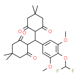 ChemSpider 2D Image | 2,2'-{[4-(Difluoromethoxy)-3,5-dimethoxyphenyl]methylene}bis(5,5-dimethyl-1,3-cyclohexanedione) | C26H32F2O7