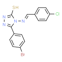 ChemSpider 2D Image | 5-(4-Bromophenyl)-4-[(E)-(4-chlorobenzylidene)amino]-2,4-dihydro-3H-1,2,4-triazole-3-thione | C15H10BrClN4S