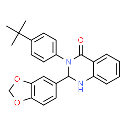 ChemSpider 2D Image | 2-(1,3-benzodioxol-5-yl)-3-(4-tert-butylphenyl)-2,3-dihydroquinazolin-4(1H)-one | C25H24N2O3