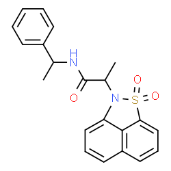 ChemSpider 2D Image | 2-(1,1-Dioxido-2H-naphtho[1,8-cd][1,2]thiazol-2-yl)-N-(1-phenylethyl)propanamide | C21H20N2O3S
