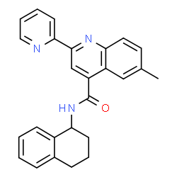 ChemSpider 2D Image | 6-Methyl-2-(2-pyridinyl)-N-(1,2,3,4-tetrahydro-1-naphthalenyl)-4-quinolinecarboxamide | C26H23N3O