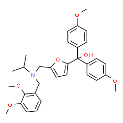 ChemSpider 2D Image | (5-{[(2,3-Dimethoxybenzyl)(isopropyl)amino]methyl}-2-furyl)[bis(4-methoxyphenyl)]methanol | C32H37NO6