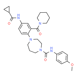 ChemSpider 2D Image | 4-{4-[(Cyclopropylcarbonyl)amino]-2-(1-piperidinylcarbonyl)phenyl}-N-(4-methoxyphenyl)-1,4-diazepane-1-carboxamide | C29H37N5O4