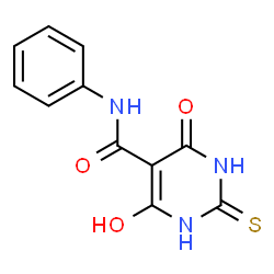 ChemSpider 2D Image | 5-pyrimidinecarboxamide, 4,6-dihydroxy-2-mercapto-N-phenyl- | C11H9N3O3S