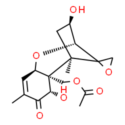 ChemSpider 2D Image | (3beta,7alpha,12xi)-3,7-Dihydroxy-8-oxo-12,13-epoxytrichothec-9-en-15-yl acetate | C17H22O7