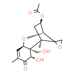 ChemSpider 2D Image | (3beta,7alpha,12xi)-7,15-Dihydroxy-8-oxo-12,13-epoxytrichothec-9-en-3-yl acetate | C17H22O7