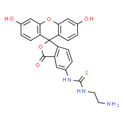 ChemSpider 2D Image | 1-(2-Aminoethyl)-3-(3',6'-dihydroxy-3-oxo-3H-spiro[2-benzofuran-1,9'-xanthen]-5-yl)thiourea | C23H19N3O5S