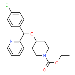ChemSpider 2D Image | Ethyl-4-[(4-chlorphenyl)(pyridin-2-yl)methoxy]piperidin-1-carboxylat | C20H23ClN2O3