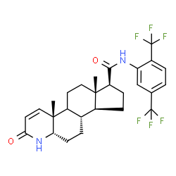 ChemSpider 2D Image | (4aR,6aS,7S,9aS,9bS,11aS)-N-[2,5-Bis(trifluoromethyl)phenyl]-4a,6a-dimethyl-2-oxo-2,4a,4b,5,6,6a,7,8,9,9a,9b,10,11,11a-tetradecahydro-1H-indeno[5,4-f]quinoline-7-carboxamide | C27H30F6N2O2