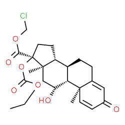 ChemSpider 2D Image | Chloromethyl (8alpha,9beta,10alpha,11alpha,13alpha,14beta,17beta)-17-[(ethoxycarbonyl)oxy]-11-hydroxy-3-oxoandrosta-1,4-diene-17-carboxylate | C24H31ClO7
