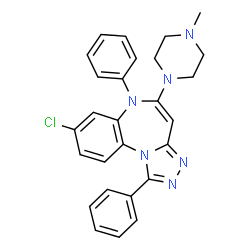 ChemSpider 2D Image | 8-Chloro-5-(4-methyl-1-piperazinyl)-1,6-diphenyl-6H-[1,2,4]triazolo[4,3-a][1,5]benzodiazepine | C27H25ClN6