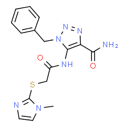ChemSpider 2D Image | 1-Benzyl-5-({[(1-methyl-1H-imidazol-2-yl)sulfanyl]acetyl}amino)-1H-1,2,3-triazole-4-carboxamide | C16H17N7O2S