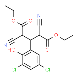 ChemSpider 2D Image | Diethyl 2,4-dicyano-3-(3,5-dichloro-2-hydroxyphenyl)pentanedioate | C17H16Cl2N2O5